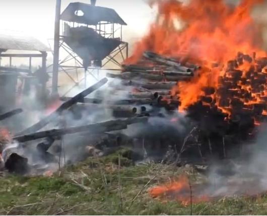 В Бурмакино загорелась пилорама: видео