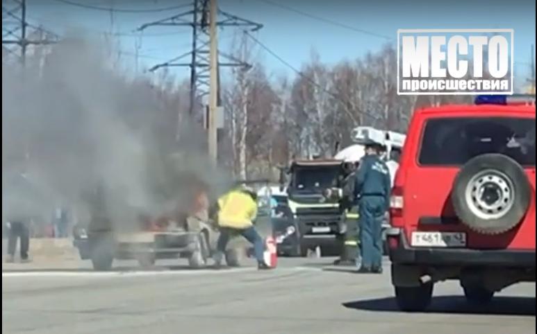 В Кирово-Чепецке у поста ДПС вспыхнула «девятка»