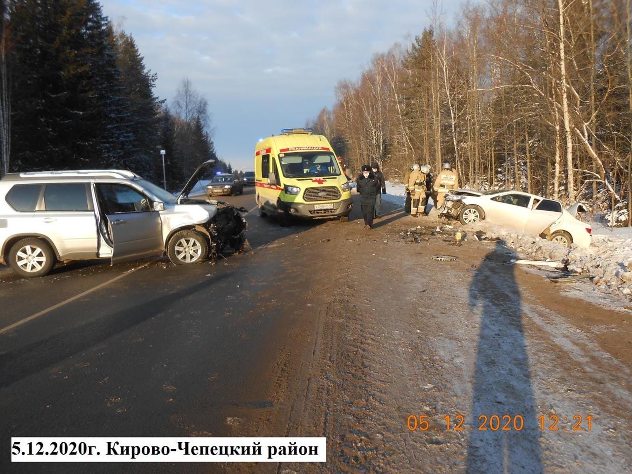 В результате двух лобовых ДТП в Кирово-Чепецком районе пострадали 8 человек