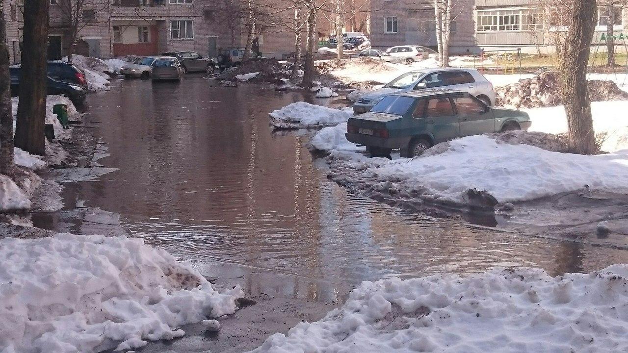 В Чепецке талой водой затопило двор