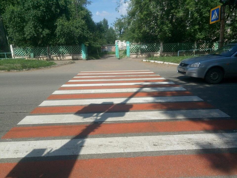 В Чепецке появилась красная разметка на дорогах