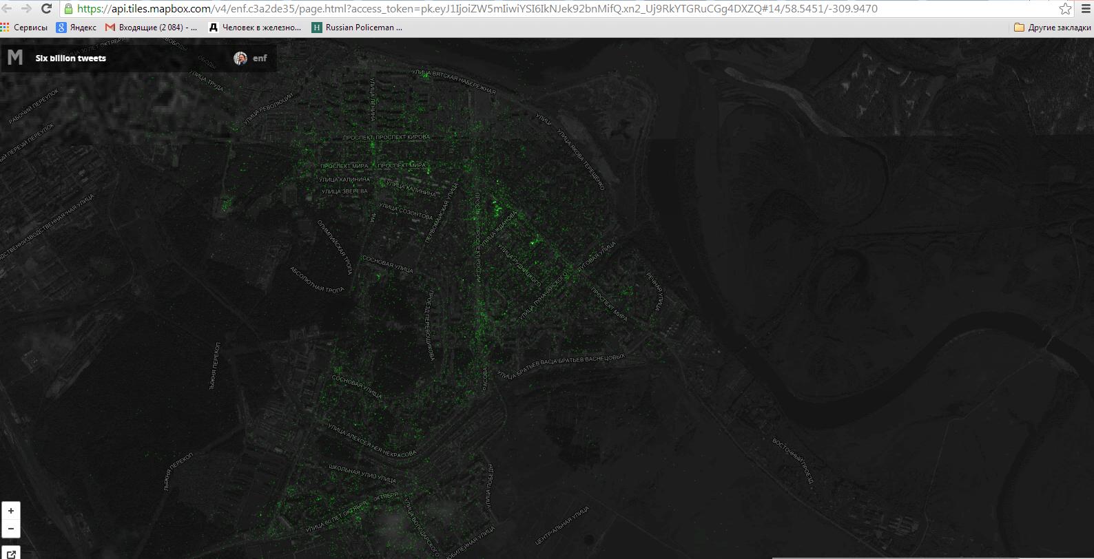 Кирово-Чепецк нанесли на карту твиттов: откуда чепчане твитят чаще всего?