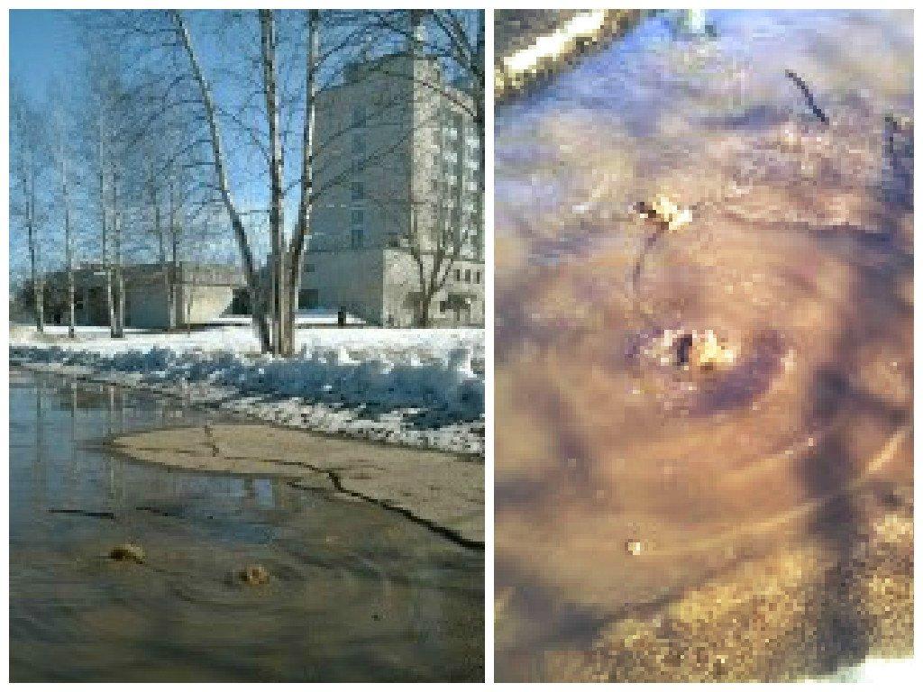 В Чепецке у гостиницы «Двуречье» из-под асфальта бьет фонтан воды