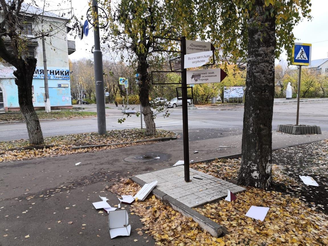 В Кирово-Чепецке вандалы разрушили городской указатель